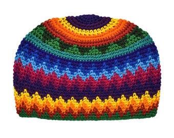Zig Zag Rainbow Kufi Skull Cap - Crocheted Beanie Hat - Fair Trade