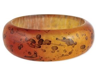 Yellow & Orange Watercolor Resin Bangle Bracelet - Boho Bracelets - Resin Bangles - Retro Bracelets