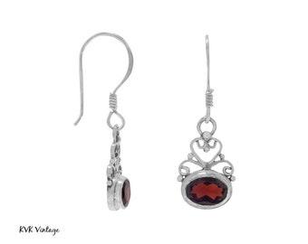 Garnet Scroll Sterling Silver Earrings - Gemstone Earrings - January Birthstone Earrings - January Birthstone Jewelry - Garnet Jewelry