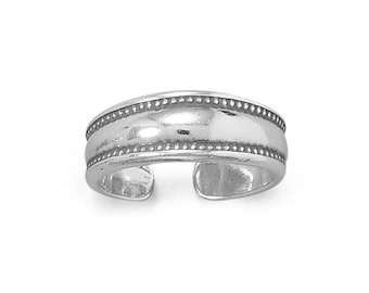 Dotted Edge Sterling Silver Toe Ring - Toe Rings - Adjustable Toe Rings - Body Jewelry