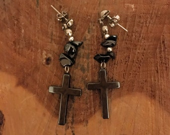 Hematite Traditional Cross Earrings - Hematite Earrings - Hematite Jewelry - Earrings - Hematite Dangle Earrings - Hematite Drop Earrings