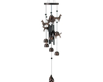 """Bronze Dog Wind Chimes 26"""" - Wind Chimes - Chimes - Garden Decoration - Home Decor -  Animal Wind chimes - Dog Chimes"""
