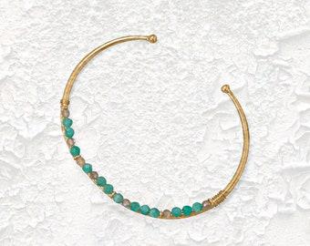 Amazonite & Labradorite Cuff Bracelet - Bracelets - Cuff Bracelets - Gemstone Bracelets - Bohemian Bracelets - Stone Bracelets - Jewelry