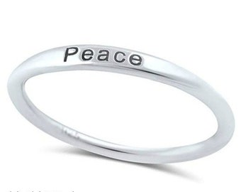 """Sterling Silver """"PEACE"""" Ring - Band Ring - Peace Ring - Word Ring - 1.5mm Sterling Silver Ring - Stamped  Ring - Inspiring Ring"""