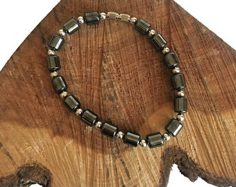 Hematite Barrel Bead Bracelet - Hematite Bracelets - Hematite Jewelry