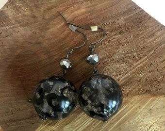 Leopard Glass Ball Earrings - Drop Earrings - Bead Earrings - Beaded Earrings - Dangle Earrings