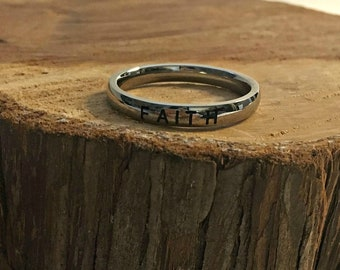 """Stainless Steel """"FAITH"""" Ring - Band Ring - Faith Ring -  3mm Stainless Steel Ring - Word Ring - Stamped Ring  - Inspiring Ring"""