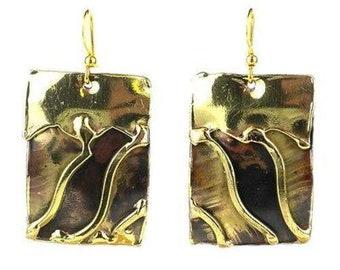 Brass Wave Earrings - Earrings - Fair Trade - Dangle Earrings - Drop Earrings