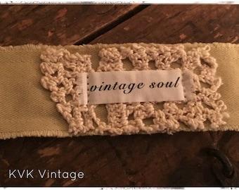 Boho Fabric Cuff Bracelet - VINTAGE SOUL - Boho Jewelry - Boho Bracelet - Hippie Jewelry - Fabric Bracelet - Inspiring Bracelet