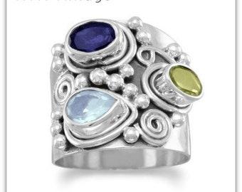 Ornate Multistone Ring - Stone Ring - Gemstone Ring - Natural Stone Ring
