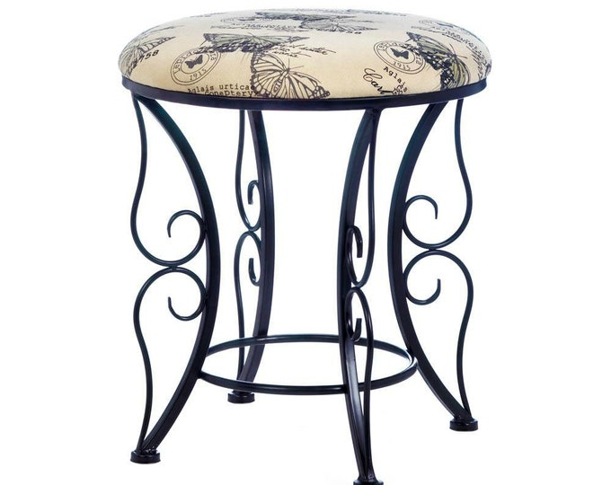 Featured listing image: Butterfly Print Stool - Butterfly Stool - Stools - Foot Stool - Printed Stool - Furniture - Steps - Stools - Home Decor - Home & Living