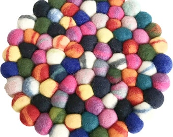 Rainbow Felt Ball Trivet - Wool Trivets - Fair Trade - Trivets - Kitchen & Dining
