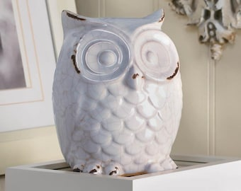 Distressed White Owl - Owls - Owl Figurine - Owl Statue - White Owl - Distressed Owl - Statues - Home Decor - Figurines