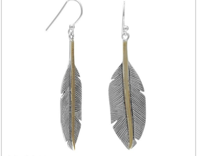 Featured listing image: Two Tone Feather Earrings - Boho Jewelry - Boho Necklace - Hippie Jewelry - Feather Earrings - Feather - Sterling Feather Earrings