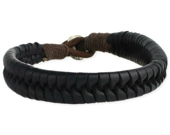 Men's Braided Black Leather Bracelet - Men's Leather Bracelet - Men's Black Leather Bracelet - Black Leather Bracelet