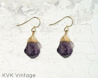 Amethyst Gemstone Chunk Earrings - Dangle Earrings - Amethyst Stone Earrings