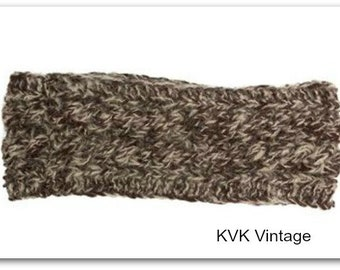 Dark Brown & White Hand Knit Wool Headband - Headbands - Hand Knit Headbands - Hand Knit - Accessories - Wool Headbands - Fall Headbands