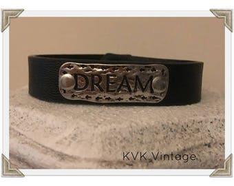 DREAM - Burnished Boho Faux Leather Bracelet - Boho Jewelry - Boho Bracelet - Hippie Jewelry - ID Bracelet