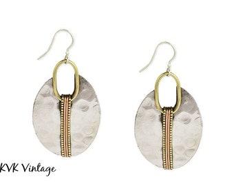 Mixed Metal Hammered Silver Oval Earrings - Boho Earrings - Ethnic Earrings - Bohemian Jewelry