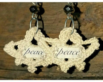 PEACE Crochet Bohemian Earrings -  Fabric Earrings - Word Earrings - Hippie Earrings