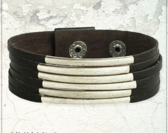 Black Leather & Silver Bars Cuff Bracelet - Boho Jewelry - Boho Bracelet - Hippie Jewelry - Black Leather Cuff - Leather Cuff - Cuff