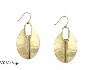 Boho Gold Hammered Oval Earrings - Dangle Earrings - Ethnic Earrings - Bohemian Jewelry
