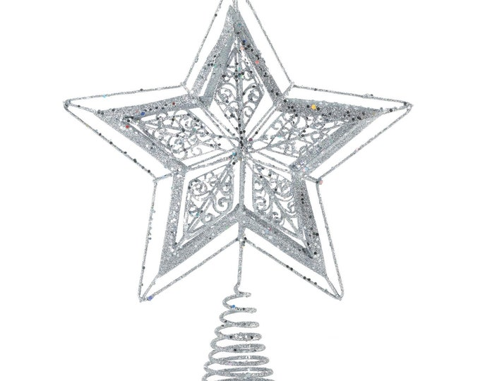 Featured listing image: Silver Star Tree Topper - Holiday Accents - Holiday Decor - Home Decor - Ornaments - Holiday Accents - Christmas Decorations - Tree Toppers