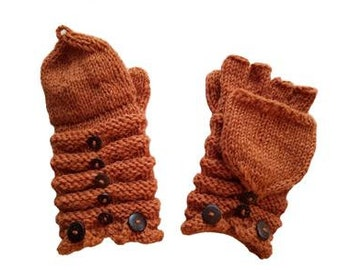 Acorn Convertible Wool Knit Mittens With Buttons - Hand-warmers -  Hand Knit Mittens -  Wool Mittens - Convertible Mittens - Wool Gloves