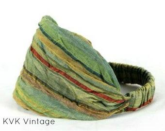 Green Multi-Stripe Headband - Bohemian Headband - Boho Head Wrap - Fair Trade - Wide Headband - Hippie Headwrap