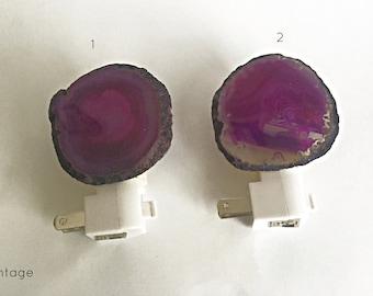 Agate Purple Night Light - Stone Night Lights - Home Decor- Lighting - Night Lights - Gemstone Night Lights -  Geode Night Lights