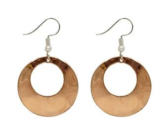 Copper Hoop Earrings - Dangle Earrings - Ethnic Earrings - Bohemian Jewelry - Fair Trade