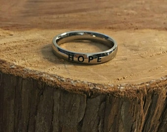 """Stainless Steel """"HOPE"""" Ring - Band Ring - Hope Ring - 3mm Stainless Steel Ring - Stamped  Ring - Inspiring Ring - Word Ring"""
