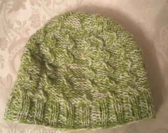 Green & White Wool Hand Knit Cap - Knit Hats - Hats - Wool Hats - Wool Caps - Fall Hats - Winter Hats -  Skull Caps - Beanies