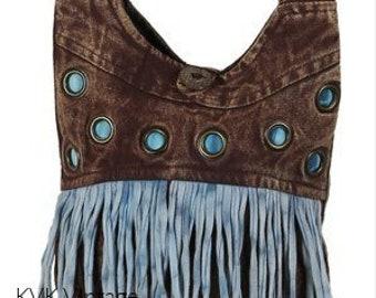 Brown Mini Sling Bag with Blue Fringe - Cross body Bags - Fair Trade Bags - Shoulder Bags - Bohemian Bags - Handbags
