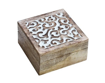 Ivy Wood Trinket Box - Jewelry Holder - Candy Holder - Coin Holder - Fair Trade - Box With Lid -  Hand  Carved Wood Box - Trinket Holder