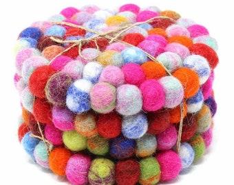 Rainbow Felt Ball Coasters (Set of 4) - Wool Coasters - Drink Coasters - Fair Trade - Kitchen - Dining