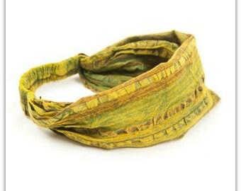 Yellow Stripe Headband - Headband - BOHO Headband - Hippie Headband - Wide Headband - Hair - Accessories