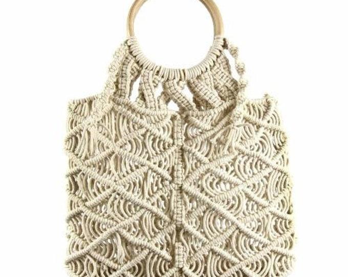 Featured listing image: Macramé Bag with Light Wooden Handle - Macramé Bags - Fair Trade - Handbags