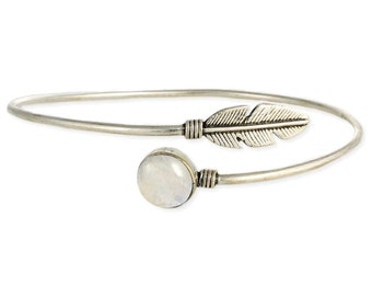 Stone & Silver Feather Wrap Armband - Silver Armbands - Feather Armband - Bohemian Jewelry