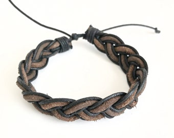 Brown & Black Braided Suede Men's Bracelet - Men's Woven Bracelets - Men's BOHO Bracelets