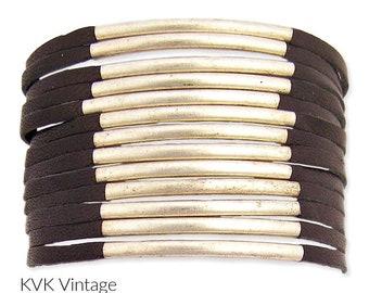 Leather & Silver Bar Cuff Bracelet - Bohemian Bracelets - Wide Cuff Bracelet - Cuff Bracelets - Bohemian Jewelry