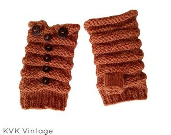 Acorn Wool Knit With Wooden Button Hand-warmers - Hand-warmers - Knit Mittens - Finger-less Gloves -  Wool Gloves - Wool Mittens