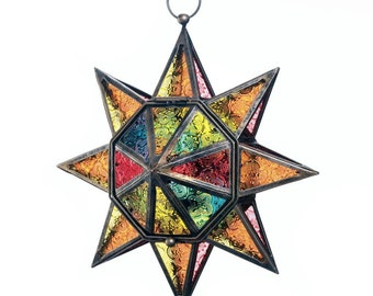 Multi-Color Star Lantern -  Iron Lantern - Stain-glass Lantern - Star Lantern - Home & Living - Lighting - Lanterns