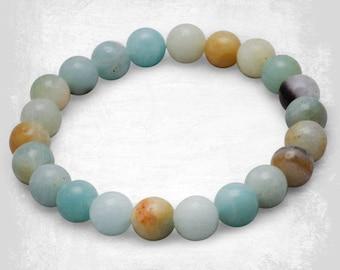 Amazonite Gemstone Bracelet - Picture Jasper Bead Bracelet - Stone Bracelet - Gemstone Bracelet - Amazonite - Beaded Bracelet