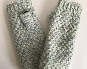 Blue & White Wool Knit Hand-warmers - Fair Trade - Arm Warmers - Fingerless Gloves