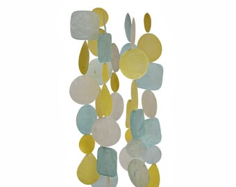 Aqua & Yellow Capiz Shell Wind Chime - Garden Decoration - Fair Trade - Shell Chimes - Home Decor