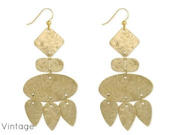 Geometric Textured  Gold Earring - Geometric Earrings - Textured Earrings - Dangle Earrings - Drop Earrings