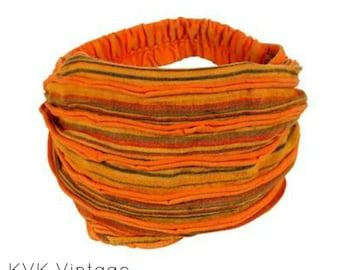 Orange Stripe Headband - BOHO Headband - Hippie Headband - Wide Headband - Hair - Accessories - Fair Trade