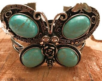 Faux Turquoise Butterfly Cuff Bracelet -  Bohemian Bracelets - Wide Cuff Bracelet - Cuff Bracelets