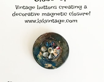 Blue & Gold Flower Swirl Painted Button Brooch Pin - Magnetic Pin - Button Jewelry - Brooches